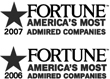 "2006 and 2007 FORTUNE's ""America's Most Admired Companies,"" logos"